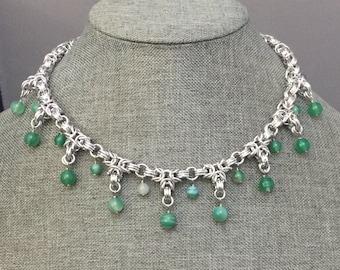 Green Stripe Agate Byzantine Necklace