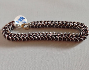 Brown and Silver Box Chain Bracelet