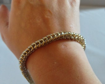 Silver and Gold Box Chain Bracelet