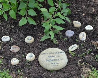 Engraved river rock etsy engraved teachers real stone mothers day stone namesake stone family stoneengraved workwithnaturefo