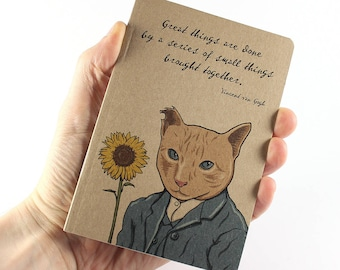 Van Gogh Notebook, Vincent van Gogh Quote, Cat Notebook, Small Notebook