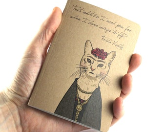 Artist Notebook, Frida Kahlo Notebook, Frida Kahlo Quote, Cat Notebook, Small Notebook
