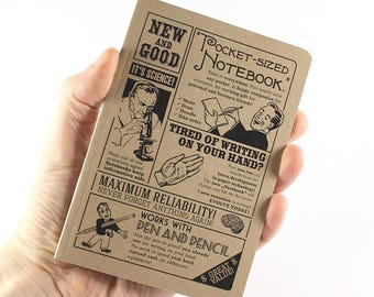 "Retro Notebook ""New and Good"", Inspired by Vintage Ads"