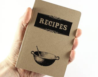 "Small Notebook ""Recipes"", Mini Notebook, Recycled Notebook"