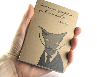 Cat Notebook, Small Notebook, Artist Notebook, Salvador Dalí Quote