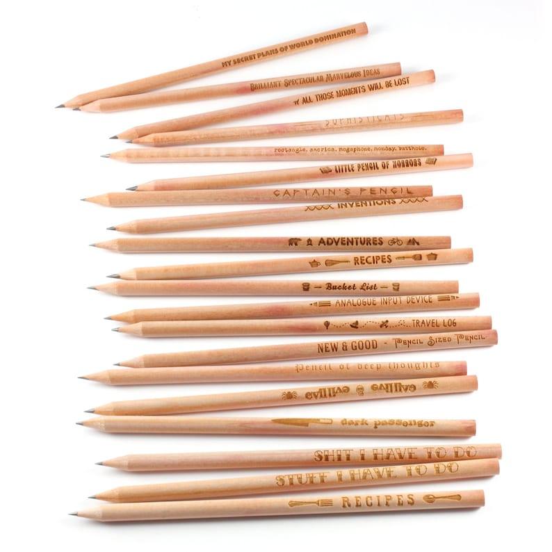 Set of Pencils Laser Engraved Wooden Pencils Choose any mix image 0