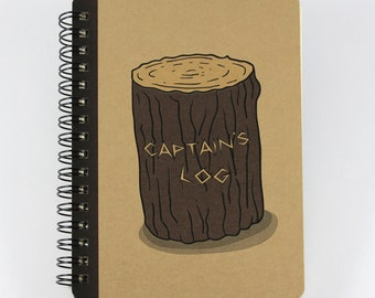 "Pocket sized Notebook ""Captain's Log"", Small Spiral Notebook"