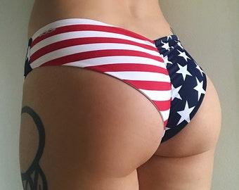 American Flag Scrunch Butt Stars n' Stripes Cheeky Bottom