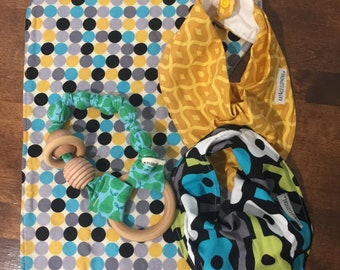 Clearance baby gift.  Burpcloth, bibs and teether