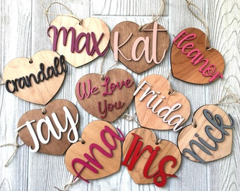 Wooden heart tags, personalized.
