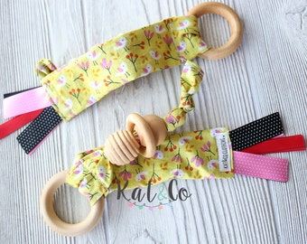 Natural maple teething ring in organic citron birds fabric.  Can be personalized.