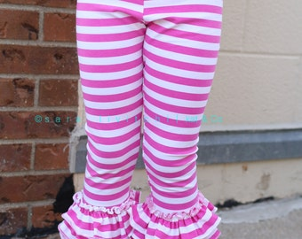 Size 12.  Clearance.  Pink stripe ruffled capris