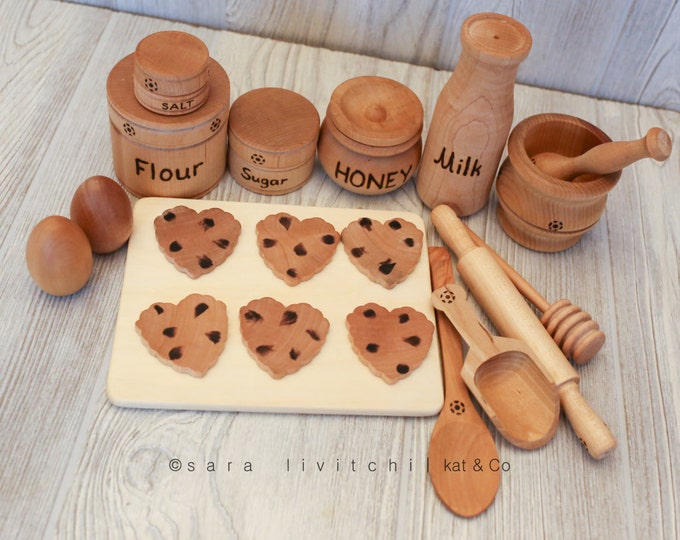 Featured listing image: Deluxe edition Natural wooden Cookie Baking set for Play Kitchen