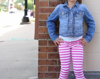Hot pink and white stripe triple ruffle leggings.  Full length or capri.  Size 12 months to 12 years.