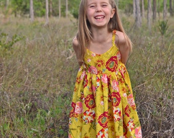 Girls floral sundress.   Custom made sizes 12 months to 12 years.