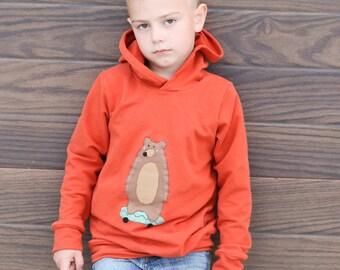 Kids soft bear on a skateboard hoodie hooded sweatshirt,  Boys or girls, baby toddler and kids sizes.  Handmade and custom made.