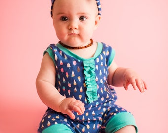 Super soft tank style shortie romper. Snap-less, soft cotton. Custom made 0 to 4t