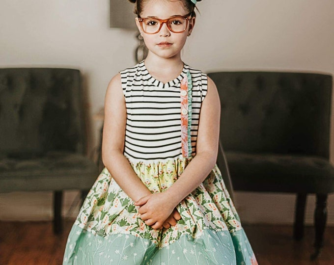 Featured listing image: Girls  butterfly  dress . Custom made sizes 6 months to 12.