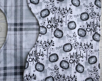 Set of 2 oversized unisex  flannel burp cloths.  Ready to ship.