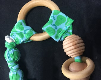 Wood teething toy, ready to ship.