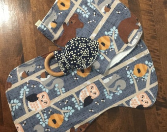 Clearance baby gift.  Burpcloth sure and teether