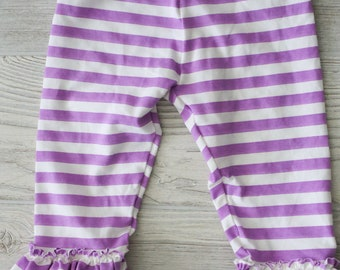 Purple and white stripe triple ruffle leggings.  Full length or capri.  Size 12 months to 12 years.
