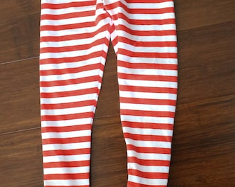 Red and white stripe triple ruffle leggings.  Full length or capri.  Size 12 months to 12 years.