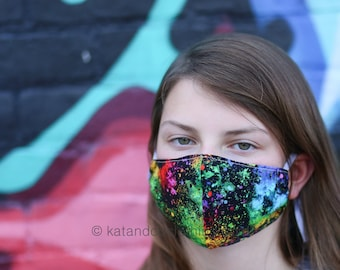 Free and fast shipping face mask, 4 sizes:  kids to extra large.  Adjustable elastic band. Free shipping.