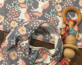 Clearance baby gift.  Burpcloth, bib and teether