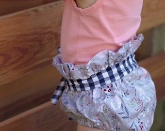 Baby girls ruffle waist shorts with sash ages newborn to 4t.