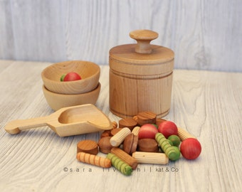 Limited discontinued product.  Pasta in a bag set.  Play kitchen wooden food.