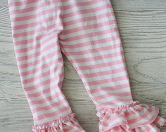 Light pink and white stripe triple ruffle leggings.  Full length or capri.  Size 12 months to 12 years.