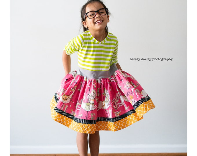 Featured listing image: Girls carousel dress, size 6 ready to ship.