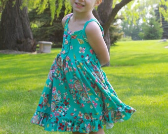 Girls  floral sundress . Custom made sizes 12 months to 12.