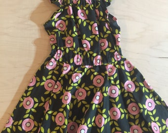 Clearance girls dress.  Size 3,4 and 5 left.  Gathered neck, flutter sleeves and full circle skirt.