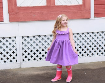 You choose color, girls knit ruffle sundress.   Available girls 6 months  to 12 years.
