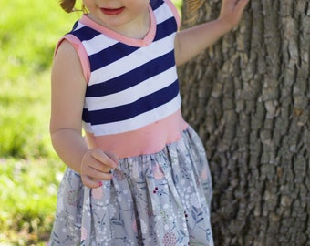 Girls tank style  dress . Custom made sizes 6 months to 12.