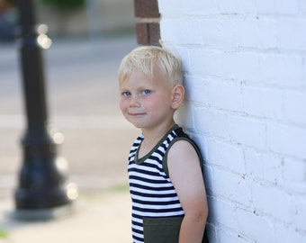 Striped tank with matching shorts.     Custom made sizes 0 to 6.