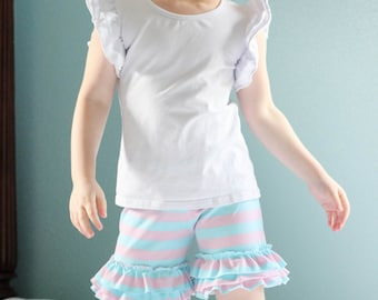 Triple ruffle knit shorts.  Many fabrics to choose from!  Available girls 12 months to 10 years.