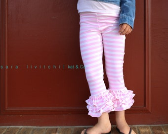 Size 10.  Ready to ship light pink stripe triple ruffle capris size 12 months