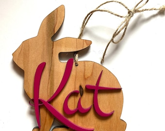 Custom Wooden bunny tags personalized.