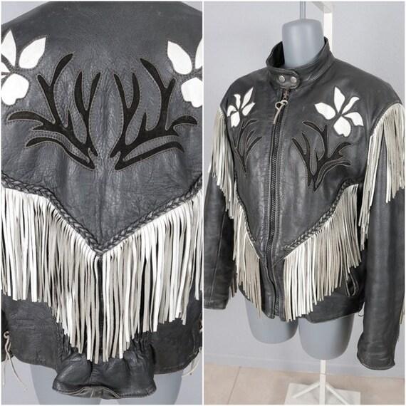 Vintage 80s Black and White Fringe Leather Biker J