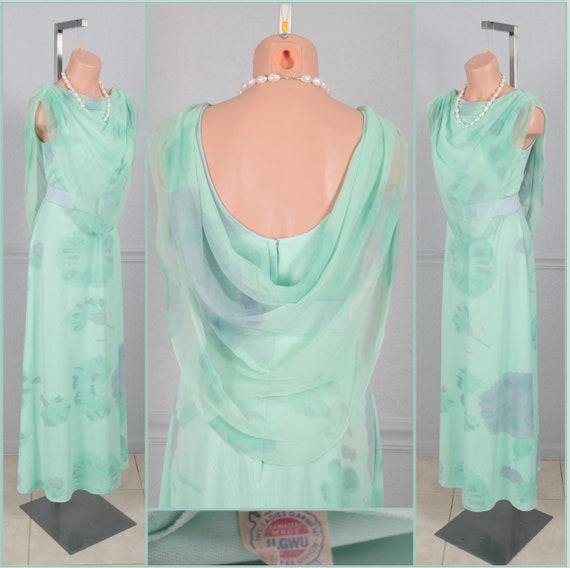 Beautiful Vintage 70s Floral Print Maxi Dress L XL