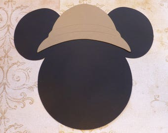 Mickey party hats etsy 2 mickey mouse 11 from ear to ear head shapes die cut with safari hats for diy kids crafts birthday party banners wall door decorations maxwellsz