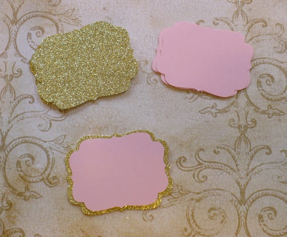 2 Size Die Cut Shapes 4 Layering Gold Glitter And Pink Colors Cardstock 4 Wedding Tags Place Card Label Brackets