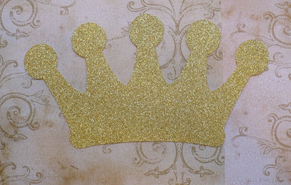 1 Gold Glitter Crown Shape Die Cut Made From Cardstock Princess Birthday Party For Diy Table Wall Decor Centerpiece Projects