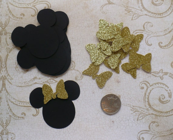 Minnie Mouse Head Ear Shapes Princess Gold Glitter Bows Die Cuts For Diy Cupcake Picks Baby Showers Kids Crafts Birthday Party Decor