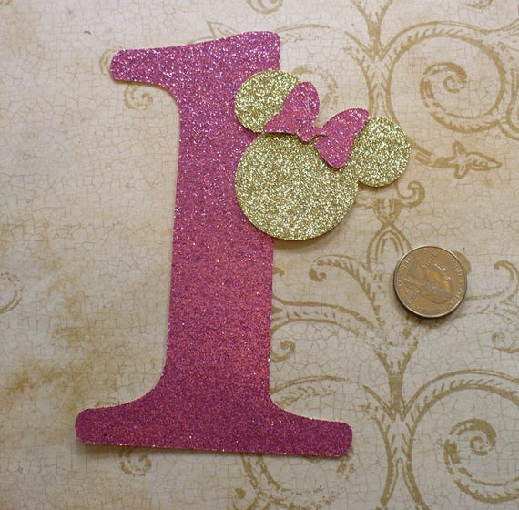 Minnie Mouse Head Shape 1 Die Cut For Crafts Diy Raspberry Pink Glitter Birthday Party Banners Wall Door Decorations
