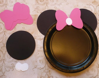Ears and Bows ONLY Minnie Mouse DIY Craft Birthday Plate Black Circle Hot Pink Bow Shapes for Kids Birthday Party Decorations Decor