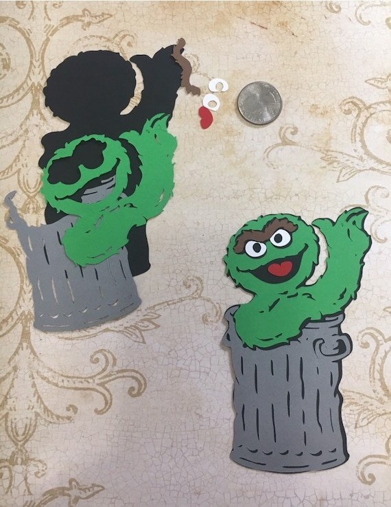 Oscar Grouch Trash Can Diy Shapes Die Cut Cardstock Paper Pcs For Crafts Happy Birthday Decorations Party Table Centerpiece You Assemble